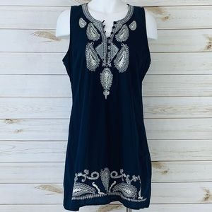 Blue, 100% Cotton, Embroidered Dress.